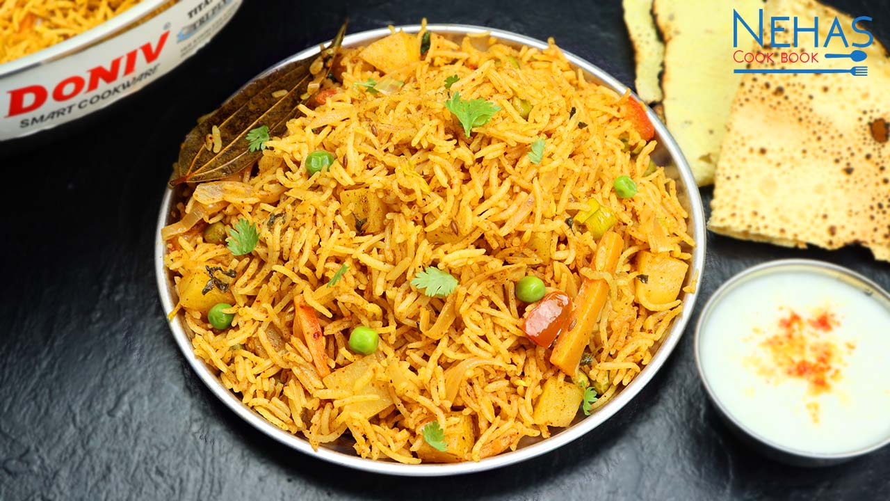 Instant Veg Biryani Recipe How To Make Vegetable Biryani Restaurant Style Biryani Nehas Cook Book